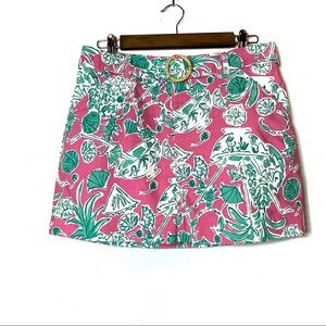 LILLY PULITZER MINI SKIRT SIZE 4 BELTED TROPICAL